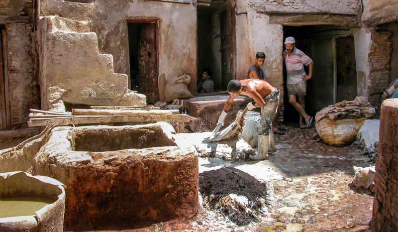 Fas'ın Meşhur Deri Tabakhaneleri. Kireçleyerek yünler deriden ayrılıyor