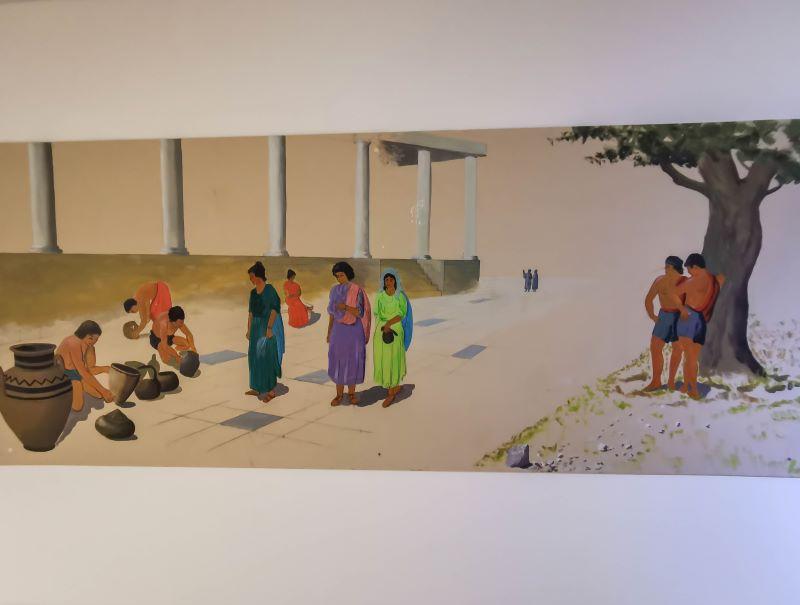 Soli antik şehrinin yaşamı canladıran resim. Güzelyurt müzesinde görülebilir.