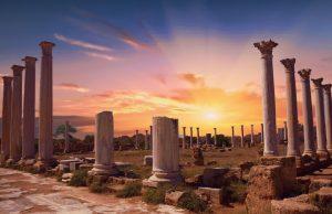 Salamis antik şehrinde gün batımı