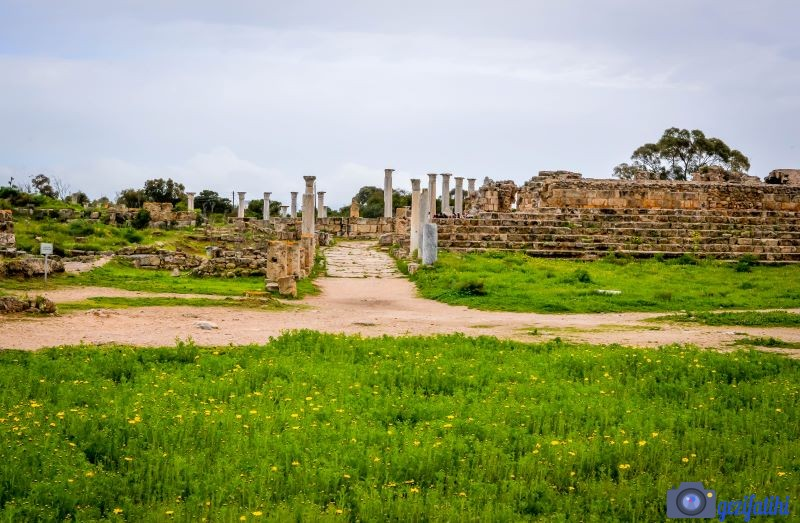 salamis antik şehrinde sütunlu cadde