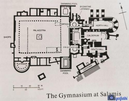 Salamis antik şehri gymnasium planı